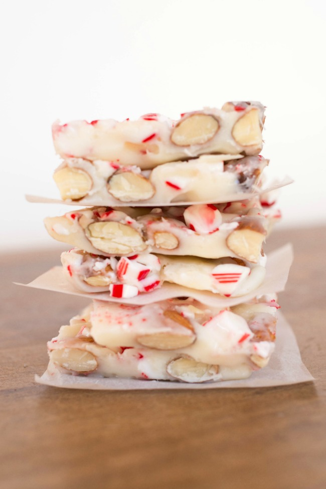 Whip up this Candy Cane Almond Bark in just minutes - the perfect EASY Christmas candy for parties, gifts and more!
