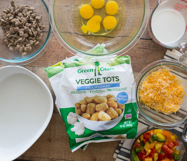 This Veggie Tot Breakfast Casserole is easy and delicious! Made with Green Giant Veggie Tots, it's also packed full of veggie goodness.