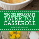 This Veggie Breakfast Tater Tot Casserole is easy and delicious! Made with Green Giant Veggie Tots, it's also packed full of veggie goodness.