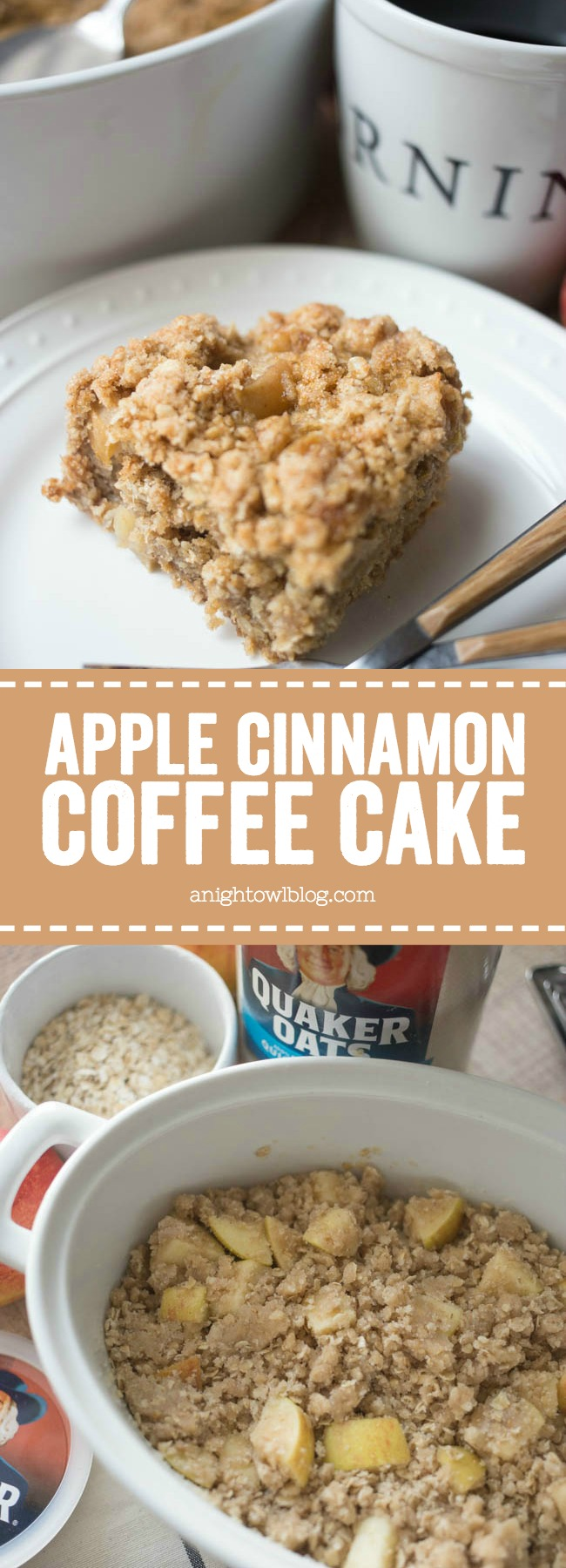This Apple Cinnamon Coffee Cake is a delicious start to your day! Perfect for breakfast or brunch treat during the holidays!