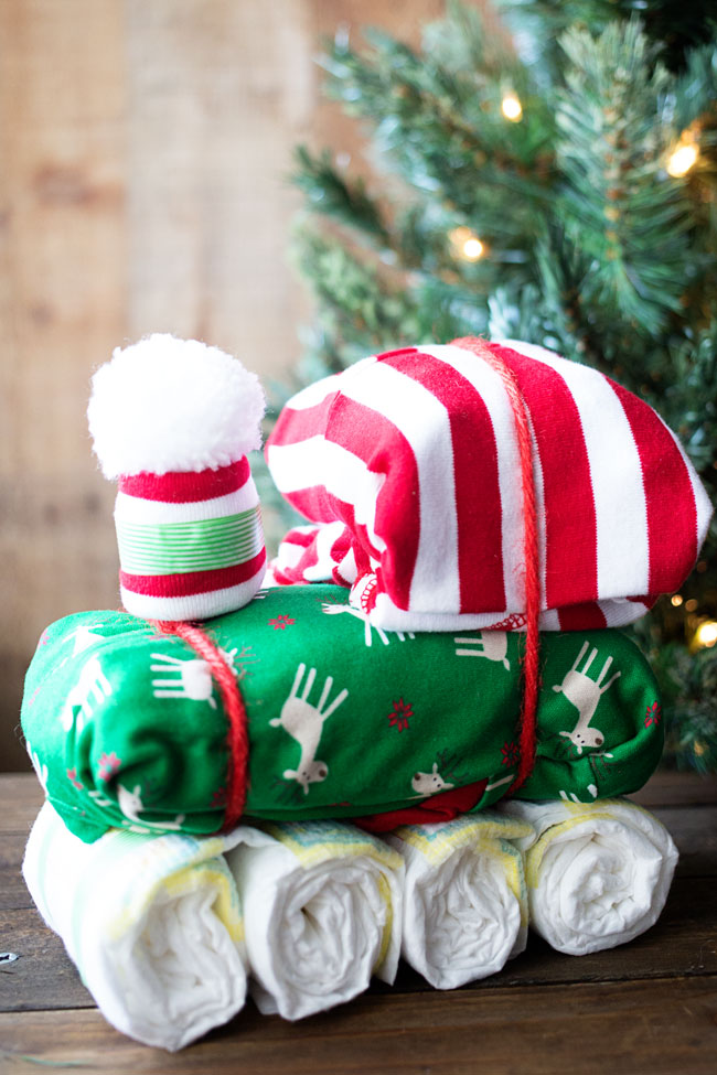 This DIY Diaper Train Gift is perfect for Baby's First Christmas!