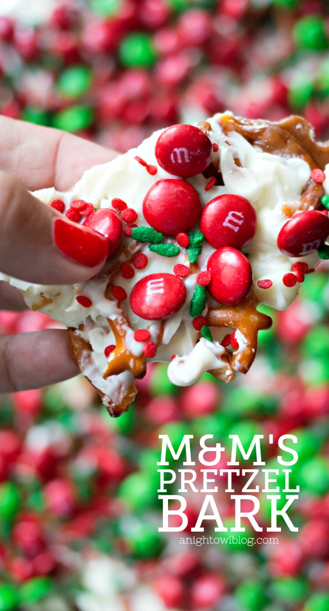 This M&M'S Pretzel Bark is the perfect combination of salty and sweet in one delicious holiday treat!