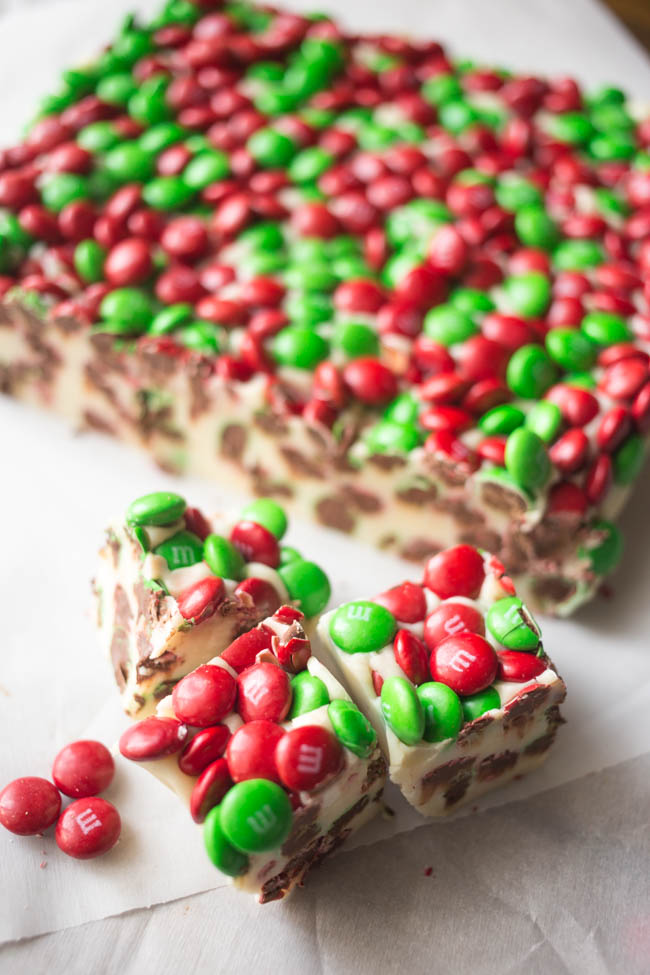 This M&M'S Peppermint Fudge is a quick and easy holiday treat featuring delicious M&M'S Milk Chocolate candies!