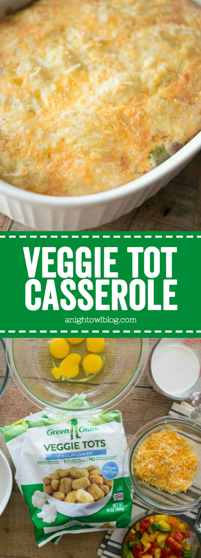 This Veggie Tot Casserole is easy and delicious! Made with Green Giant Veggie Tots, it's also packed full of veggie goodness.