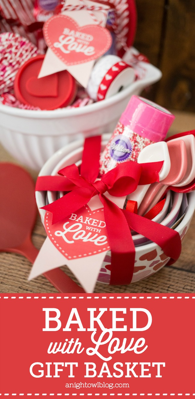Perfect for Galentines or any day of the year, this Baked with Love Gift Basket and FREE printable tag is a sweet gift for the baker in your life!