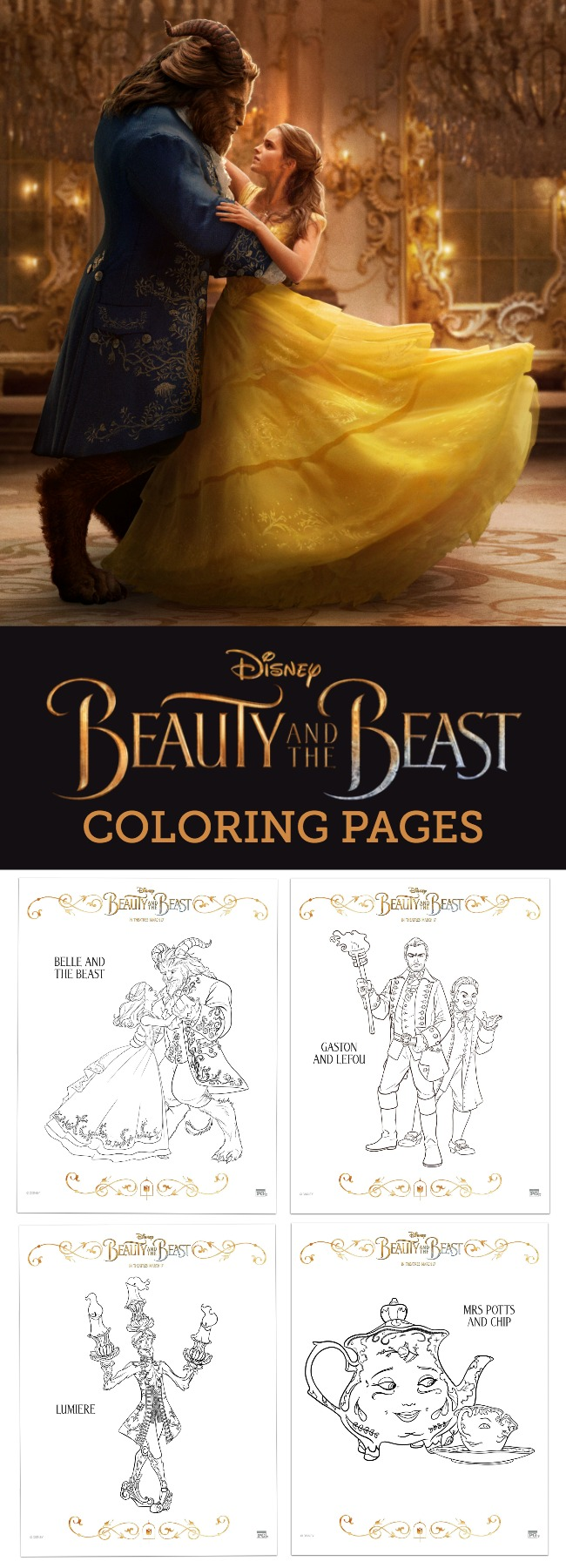 FREE Downloadable Disney Beauty and the Beast Coloring Pages