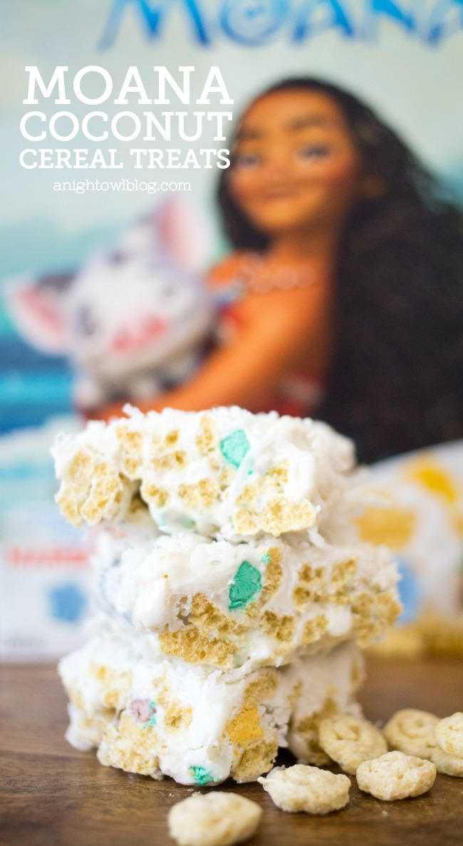 Consider the coconut in these tasty Moana Coconut Cereal Treats, made with new Moana cereal and topped with white chocolate and sweet coconut. Weehoo!