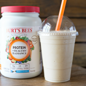 This Tropical Cream Smoothie with Burt's Bees Protein is a filling and delicious start to any day!