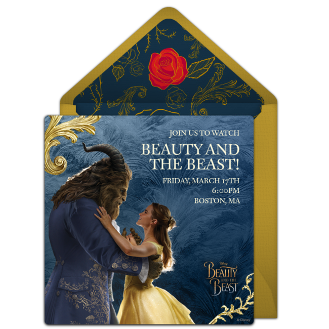 Send a personalized Beauty and the Beast invitation to your family and friends via Punchbowl.com! This is the newest addition to The Disney Online Invitation Collection Punchbowl launched in 2014, and is perfect for Disney fans who want to invite friends to see the premiere together.