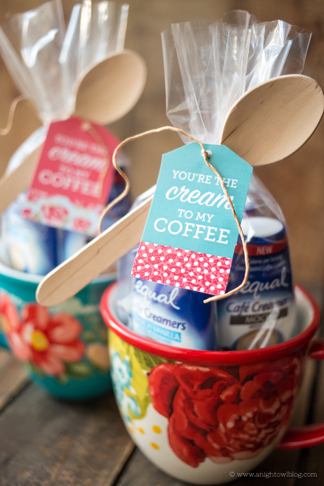 Put together the cutest You're the Cream to My Coffee Gift with a mug, Equal Cafe Creamers and these adorable FREE downloadable gift tags!