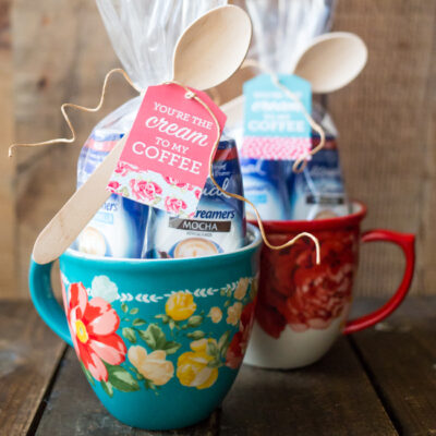 Put together the cutest You're the Cream in My Coffee Gift with a mug, Equal Cafe Creamers and these adorable FREE downloadable gift tags!