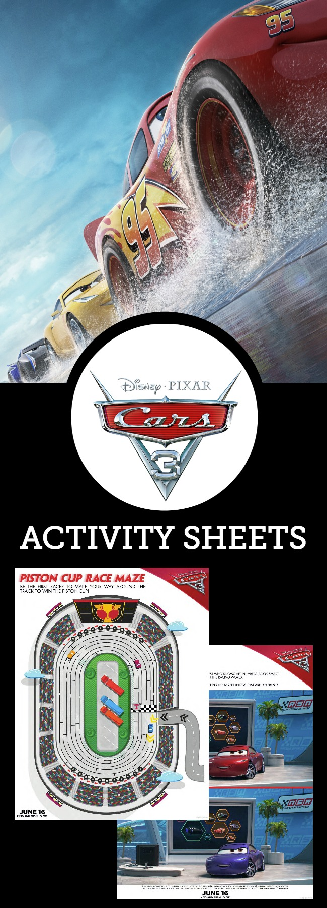 "Hot off the presses! If you're excited about the new upcoming film Disney's ""Cars 3,"" race over and download these FREE Cars 3 Activity Sheets today!"