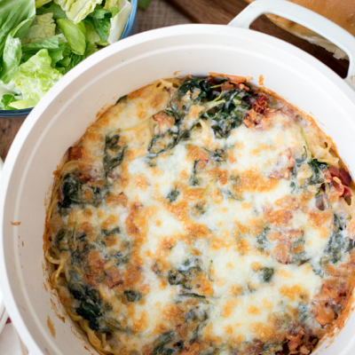 This Spinach and Bacon Creamy Pasta Bake is a delicious and easy weeknight meal the whole family will love!