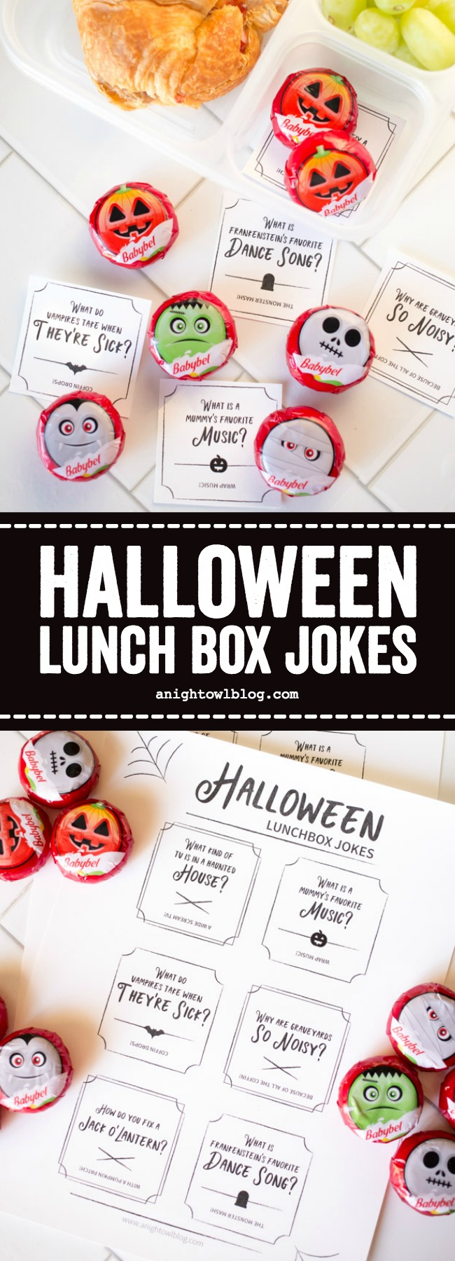 Download and print these Halloween Lunch Box Jokes to go with fun, Halloween Mini Babybel Cheeses!