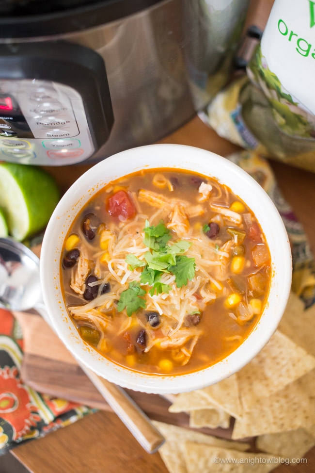 Make some Instant Pot Chicken Tortilla Soup for a warm, comforting weeknight meal. Perfect for chilly fall nights!
