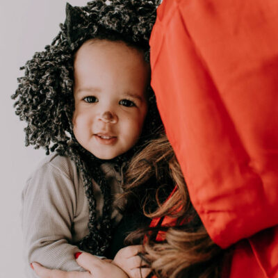 A perfect last-minute Mother and Baby Costume Idea, go as Little Red Riding Hood with an adorable little Wolf!