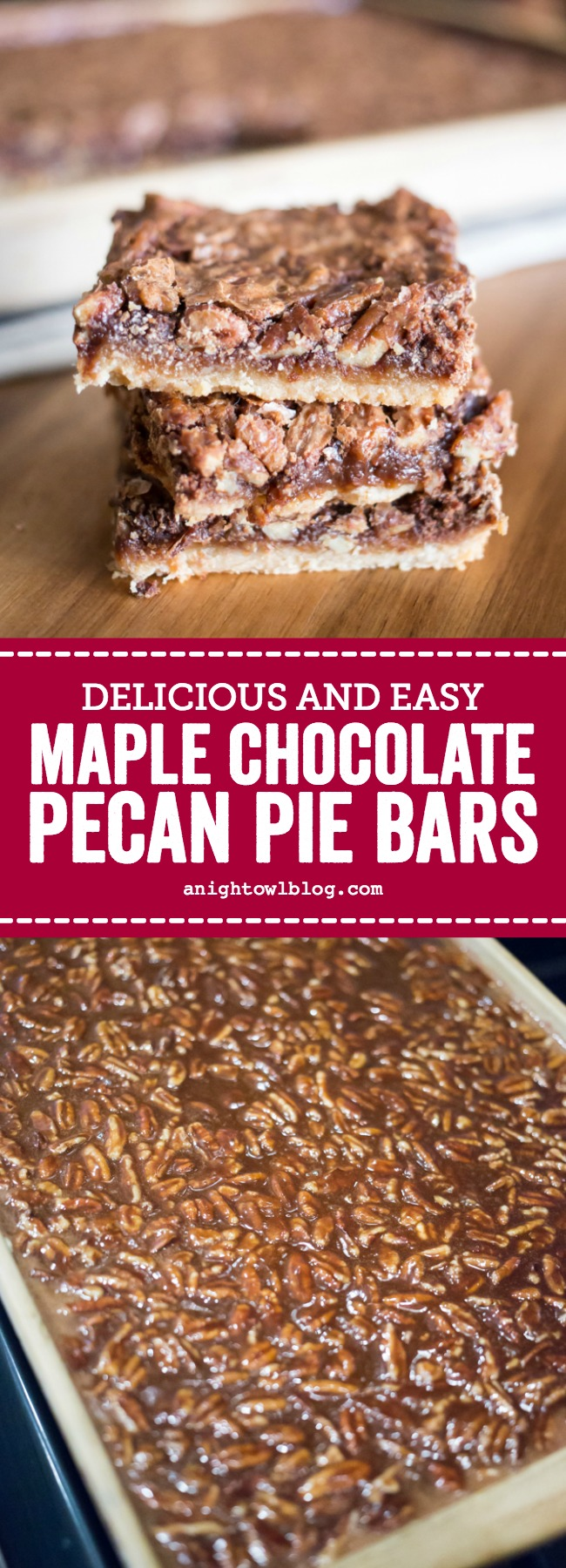 Perfect for the holidays, these easy and delicious Maple Chocolate Pecan Pie Bars will feed a crowd!