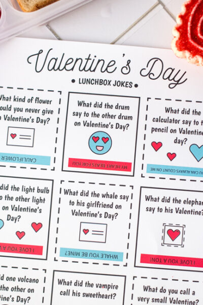 Download and print these Valentine's Day Lunch Box Jokes, perfect for your kiddos lunch box or snacks around the holiday.