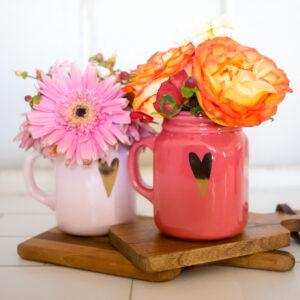 Valentine's Day Mason Jar Bouquets