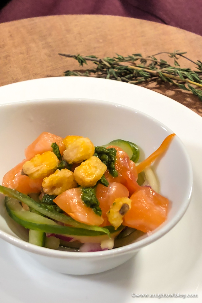 Disney California Adventure Food and Wine Festival Verlasso™ Sustainable Salmon Peruvian Poke with a Cucumber-Lime Salad and Aju Verde Salsa from Peppers Cali-ente #DisneyCaliforniaFoodandWine #Disneyland