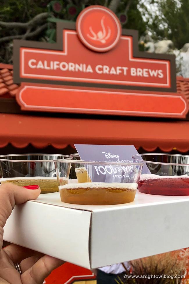 Disney California Adventure Food and Wine Festival Bright & Refreshing Beer Flight from California Craft Brews #DisneyCaliforniaFoodandWine #Disneyland