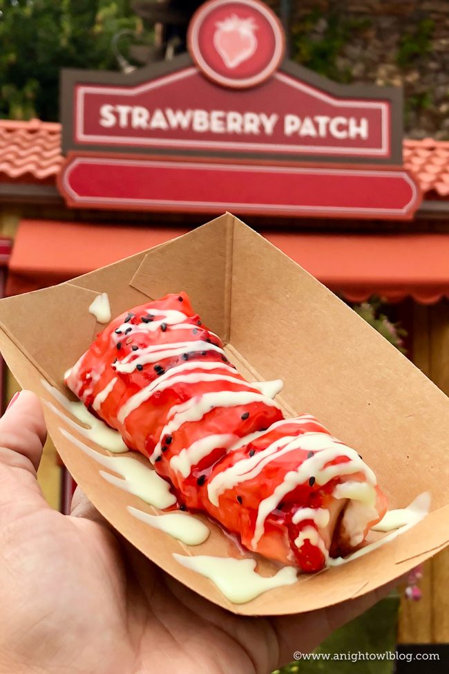 "Disney California Adventure Food and Wine Festival Strawberry & Coconut Rice ""Frushi"" with Sweet Oikos® Greek Nonfat Yogurt Wasabi Sauce from Strawberry Patch #DisneyCaliforniaFoodandWine #Disneyland"
