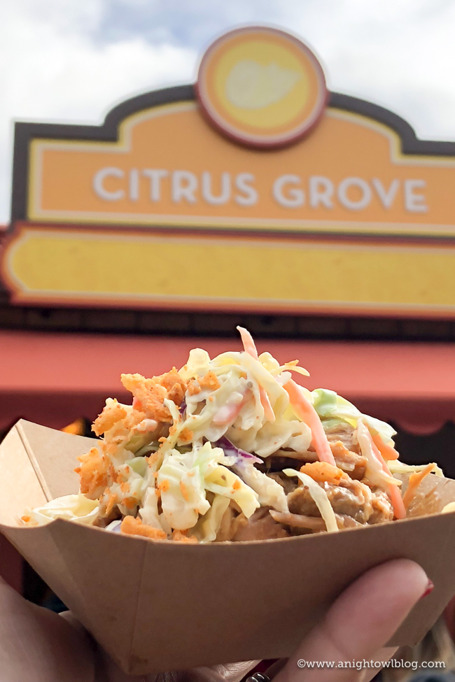 Disney California Adventure Food and Wine Festival Citrus-Brined Pork Roast with Tangy Barbecue Sauce and Lemon Pepper Slaw from Citrus Grove #DisneyCaliforniaFoodandWine #Disneyland