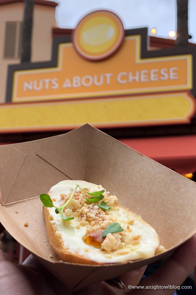 Disney California Adventure Food and Wine Festival Brie Toast with Fig, Mint and Almond Crumble from Nuts About Cheese #DisneyCaliforniaFoodandWine #Disneyland