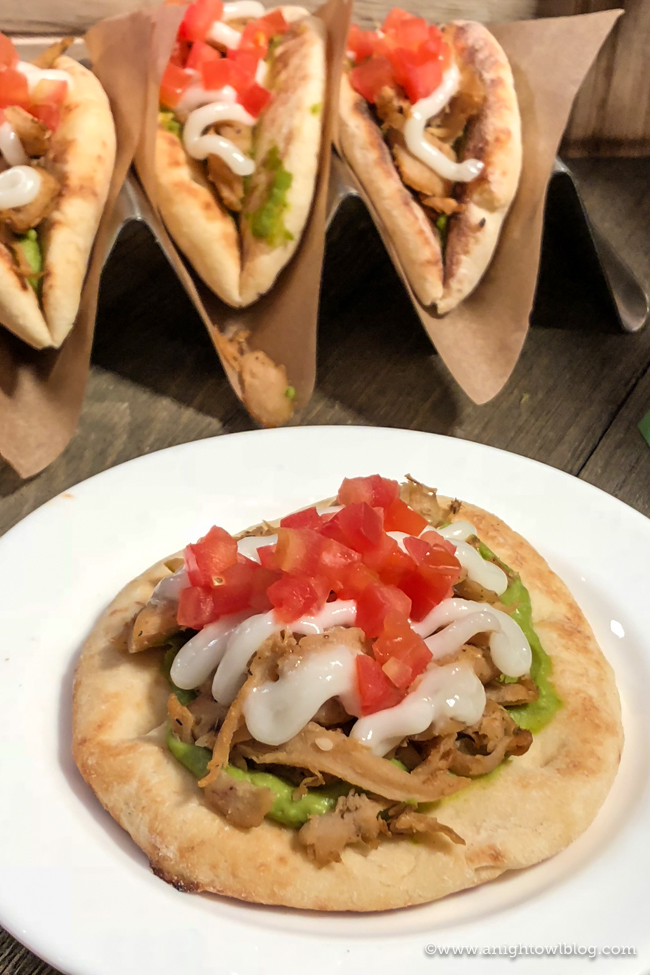 Disney California Adventure Food and Wine Festival Spice Oumph!® on Pita with Avocado Hummus and Garlic Sauce from Avocado Time #DisneyCaliforniaFoodandWine #Disneyland