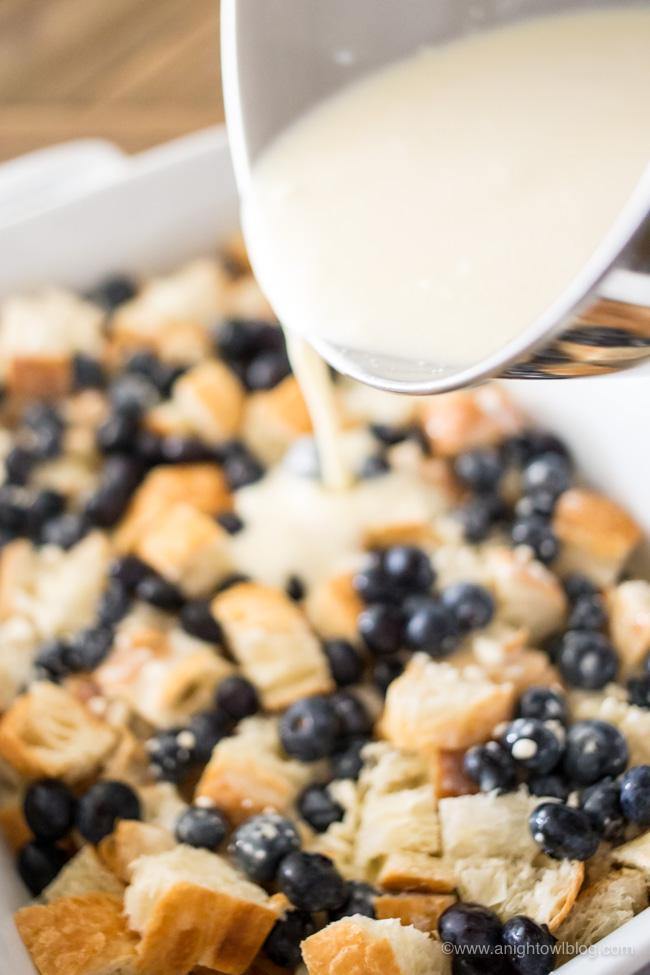 A breakfast casserole made croissants, cream cheese and fresh blueberries, this Easy Blueberry Danish Breakfast will be the hit at your next brunch!