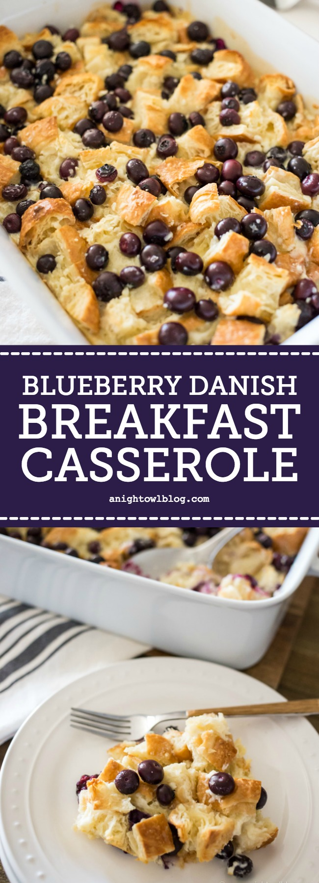 A breakfast casserole made with croissants, cream cheese and fresh blueberries, this Easy Blueberry Danish Breakfast Casserole will be the hit with your family and guests at your next brunch!