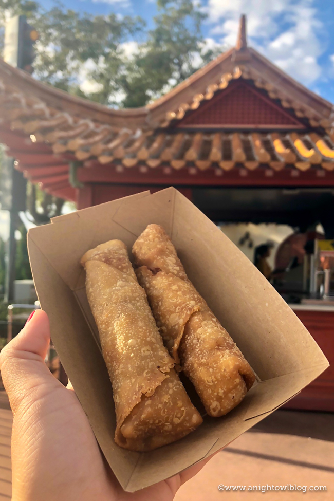 Guide to Eating Around the World at EPCOT: Pork and Vegetable Egg Rolls from Joy of Tea, Epcot World Showcase #EPCOT #WaltDisneyWorld