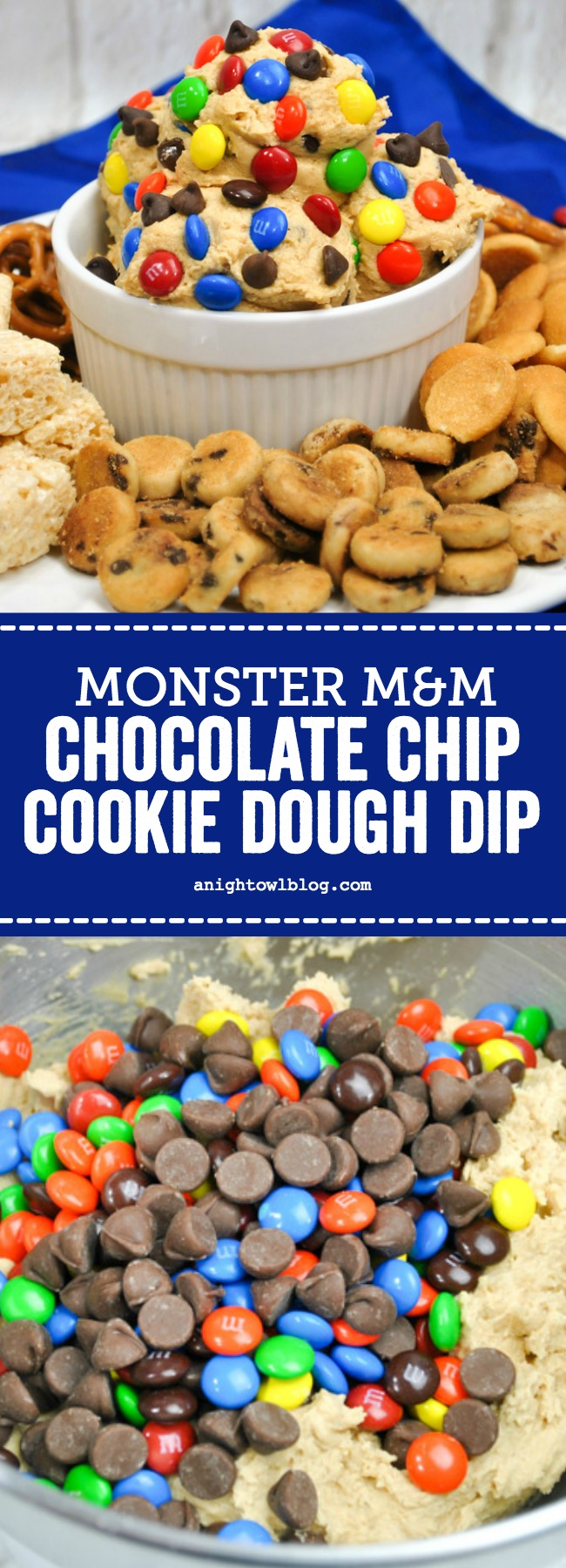 Loaded with chocolate chips, M&Ms and oatmeal, this Monster M&Ms Chocolate Chip Cookie Dough Dip is going to be a hit with your kids or at your next get together! #DessertDip #CookieDough