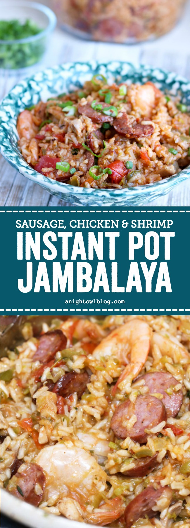 Made with chicken, sausage, shrimp and vegetables, this Instant Pot Jambalaya is a quick and hearty pressure cooker meal your family will love! #InstantPot #PressureCooker #JambalayaRecipe