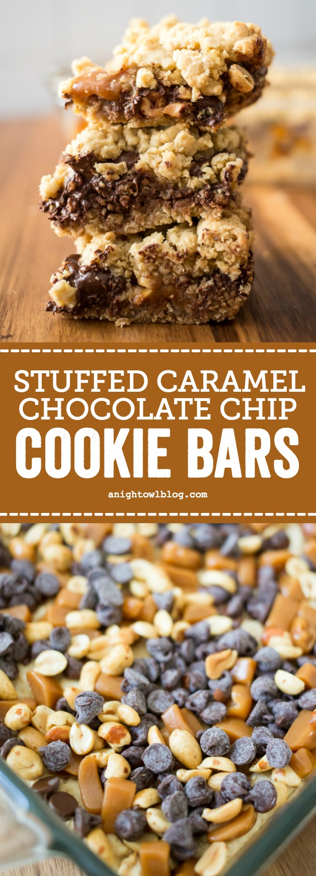 Stuffed with Werther's Soft Caramels, peanuts and chocolate chips, you're going to drool over these Stuffed Caramel Chocolate Chip Cookie Bars! #ChocolateChipBars #CookieBars #CookieRecipes