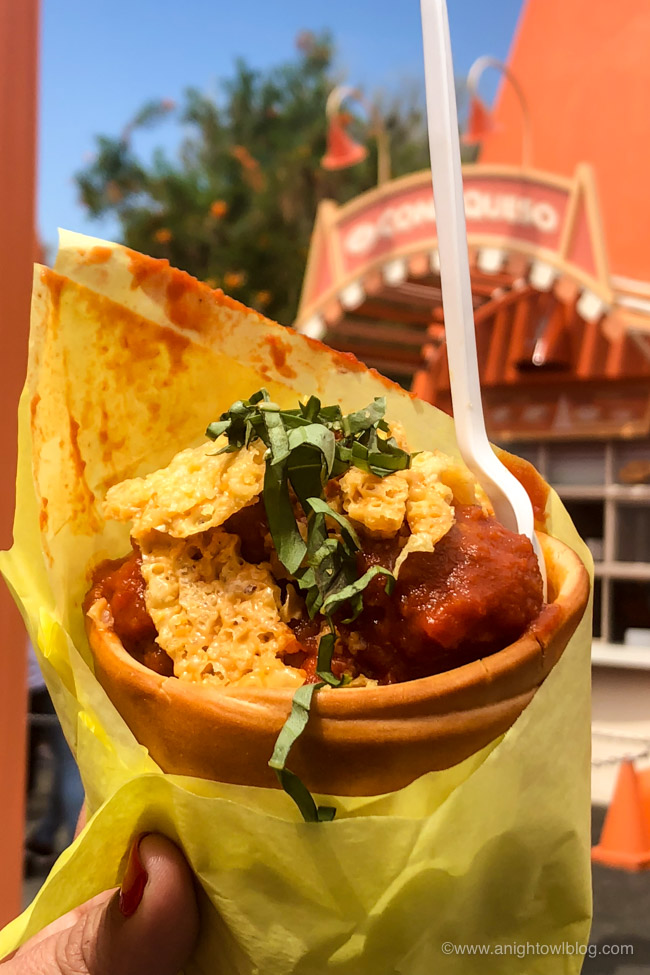 Habanero Meatball Cone from Cozy Cone Motel, Disney California Adventure Park, Cars Land | From Cheeseburger Pizza from Alien Pizza Planet to the Toy Story Root Beer Float in a Souvenir Boot, check out our picks for The BEST Disneyland Pixar Fest Food finds! #Disneyland #PixarFest