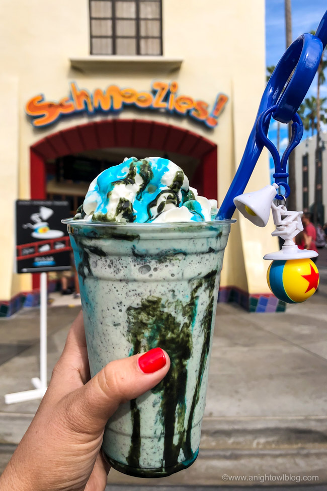 Mint Chip Shake from Schmoozies, Disney California Adventure Park, Hollywood Land | From Cheeseburger Pizza from Alien Pizza Planet to the Toy Story Root Beer Float in a Souvenir Boot, check out our picks for The BEST Disneyland Pixar Fest Food finds! #Disneyland #PixarFest