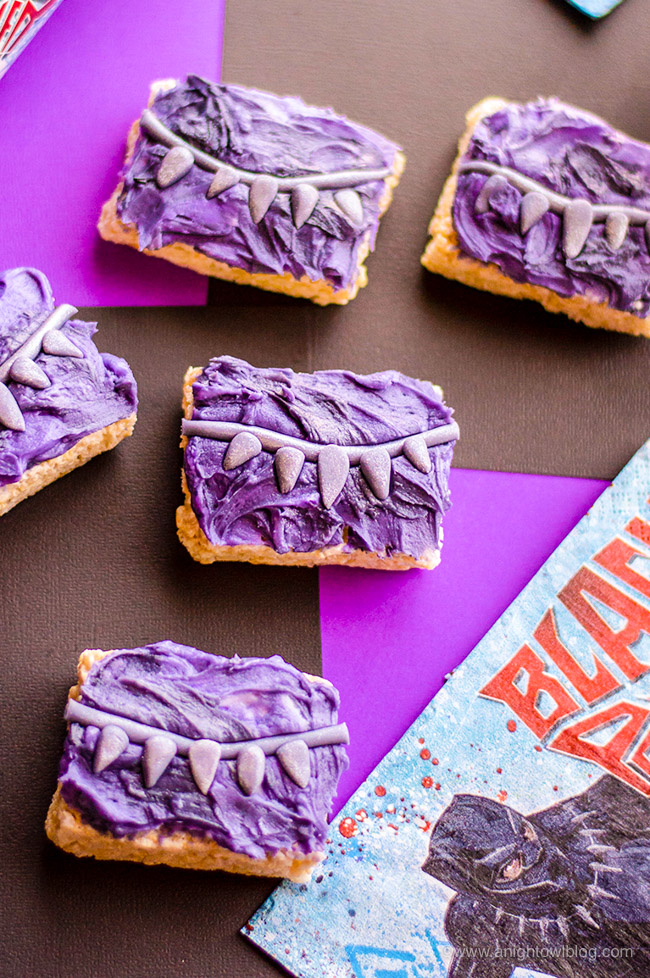Perfect for fans of Black Panther and just in time for the Black Panther BluRay release, whip up these Black Panther Rice Krispie Treats for a fun and festive movie viewing snack! #BlackPanther