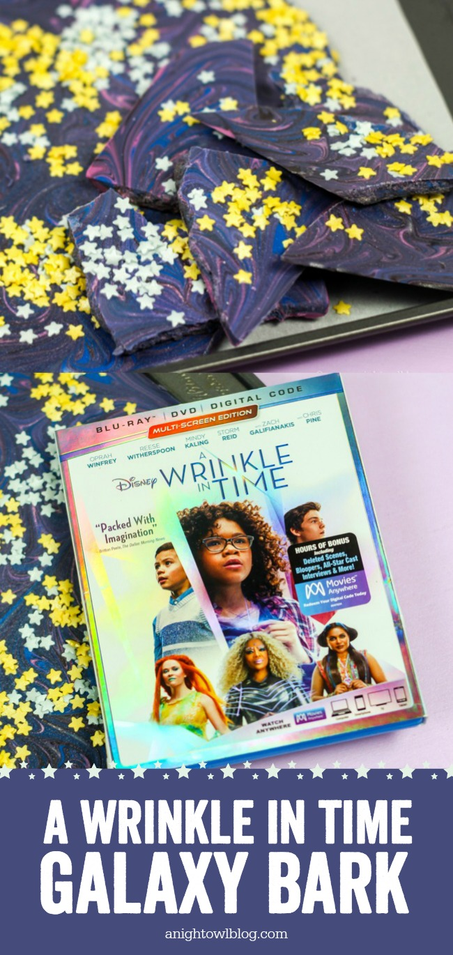 Perfect for A Wrinkle in Time Family Movie Night! Whip up this Galaxy Candy Bark for an out of this world treat! #WrinkleinTime