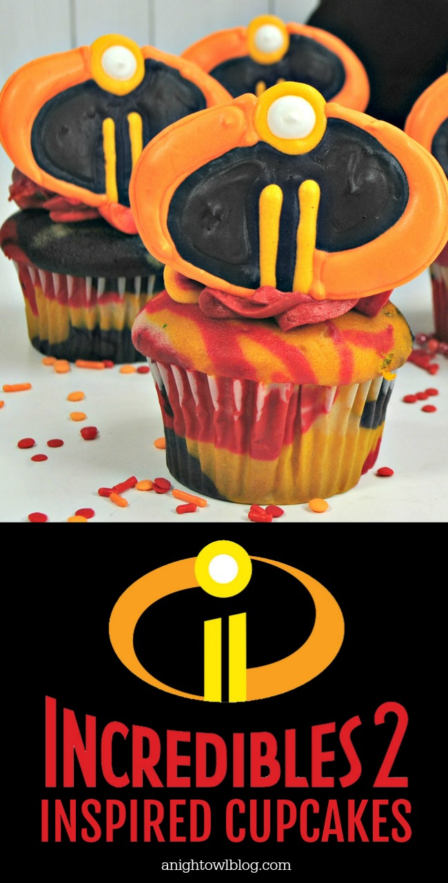 "Celebrate the release of ""Incredibles 2"" in theaters everywhere with these fun, homemade Incredibles Cupcakes!"