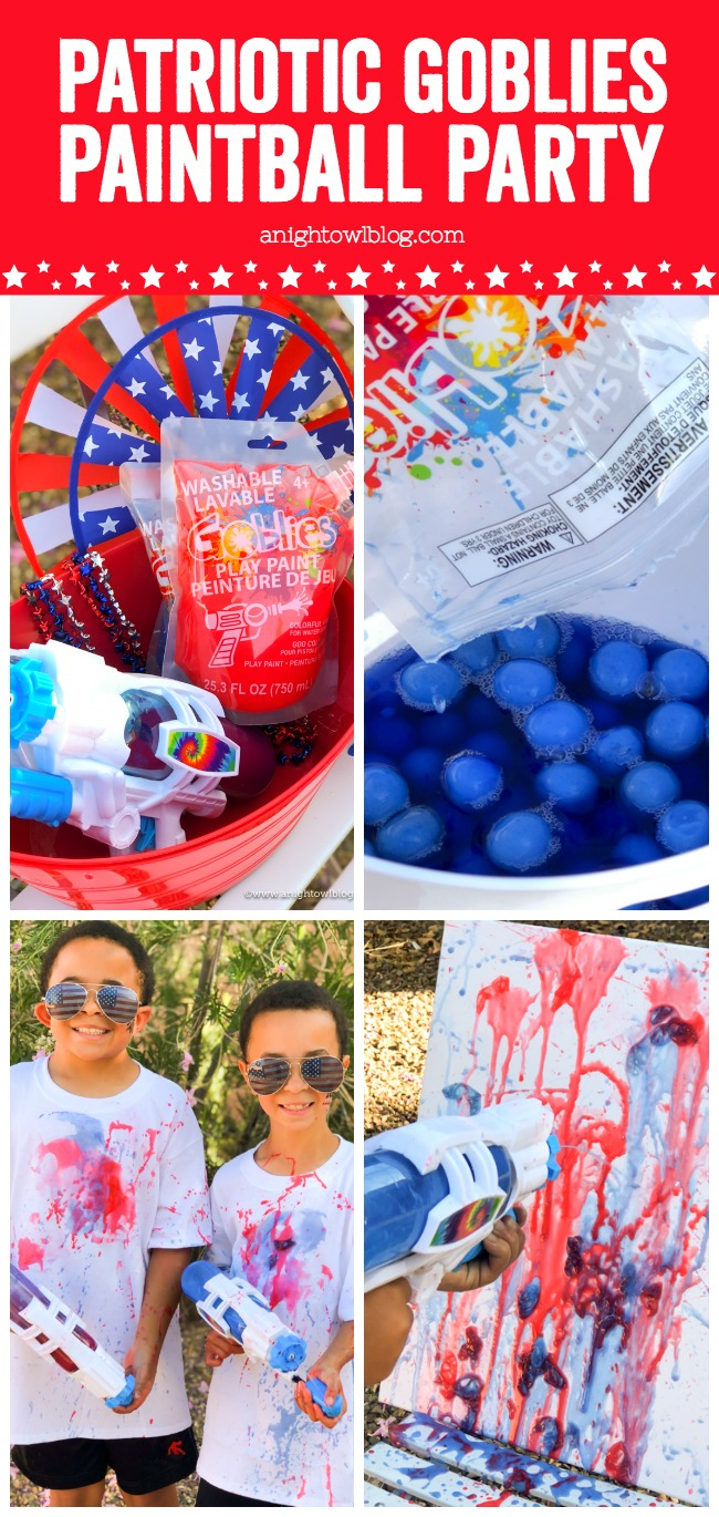 Perfect for a fun, 4th of July outdoor party idea, throw a Patriotic Goblies Paintball Party with Goblies Throwable Paintballs & Power Paint Shot, available Nationwide at Michaels Stores.