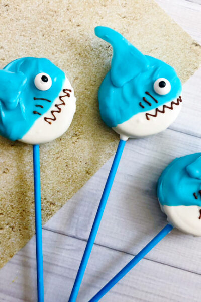 These Shark Oreo Popsare easy, tasty and fun! The perfect #SharkWeek or shark party treat for the kids or shark lover in your life!