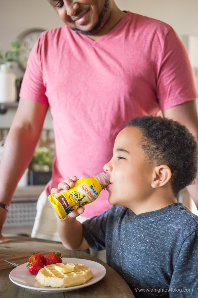 Packed with 12 grams of protein and calcium, to help your child start the day right. Super Breakfast is made with real milk and has delicious taste of NESQUIK that kids love.