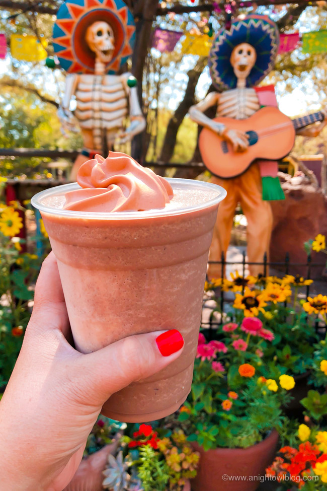 Frozen Abuelita® Horchata from Rancho del Zocalo | From the Mickey Mummy Macaron to the Bat Wing Raspberry Sundae, check out our picks for The BEST Disneyland Halloween Treats! #Disneyland #HalloweenTime