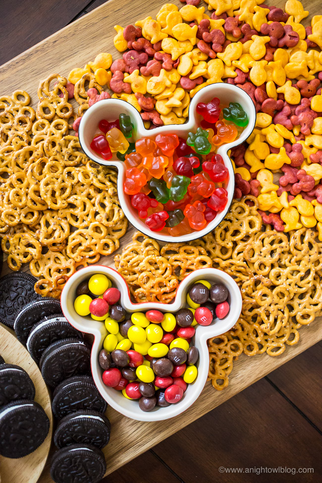 This Mickey Mouse Themed Snack Board is full of Mickey themed treats that are perfect for Mickey's birthday or your Disney themed party or movie night.