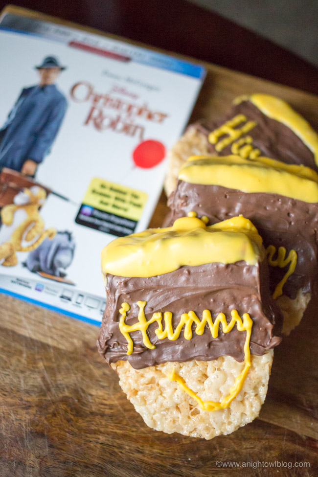 Perfect for Winnie the Pooh fans, whip up these Disneyland inspired Winnie the Pooh Hunny Pot Krispie Treats for a Christopher Robin movie night, now out on Blu-Ray!