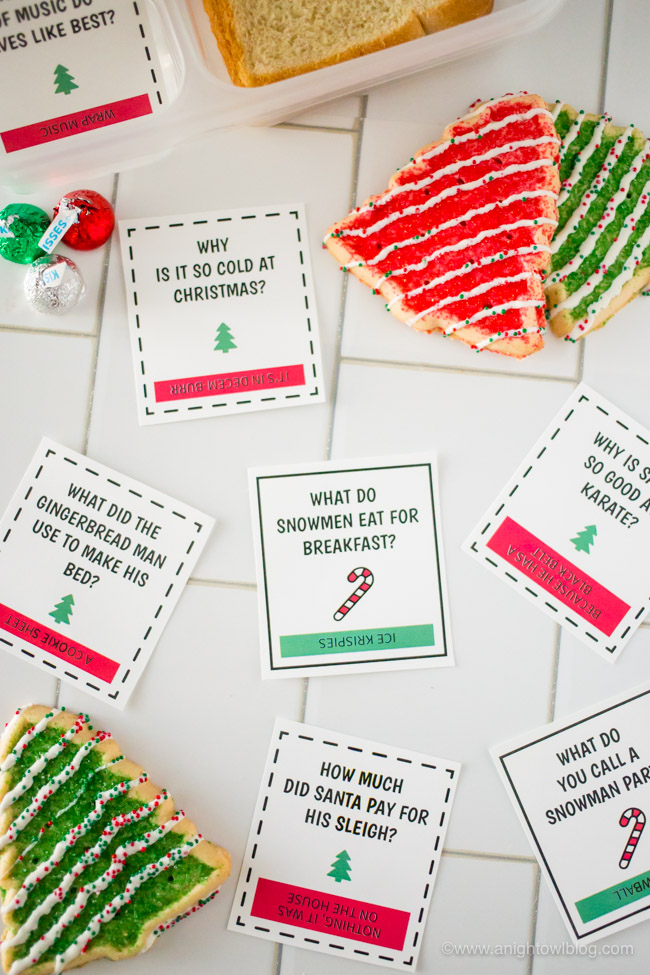 Download and print these Christmas Lunch Box Jokes perfect for your kiddos lunch box or snacks around the holiday.