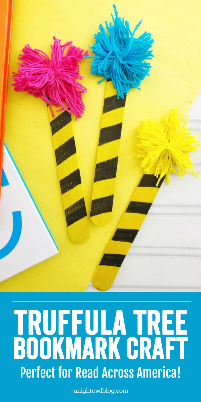 A perfect craft for Read Across America and Dr. Seuss celebrations, make these fun and easy Dr. Seuss Truffula Tree Bookmarks.