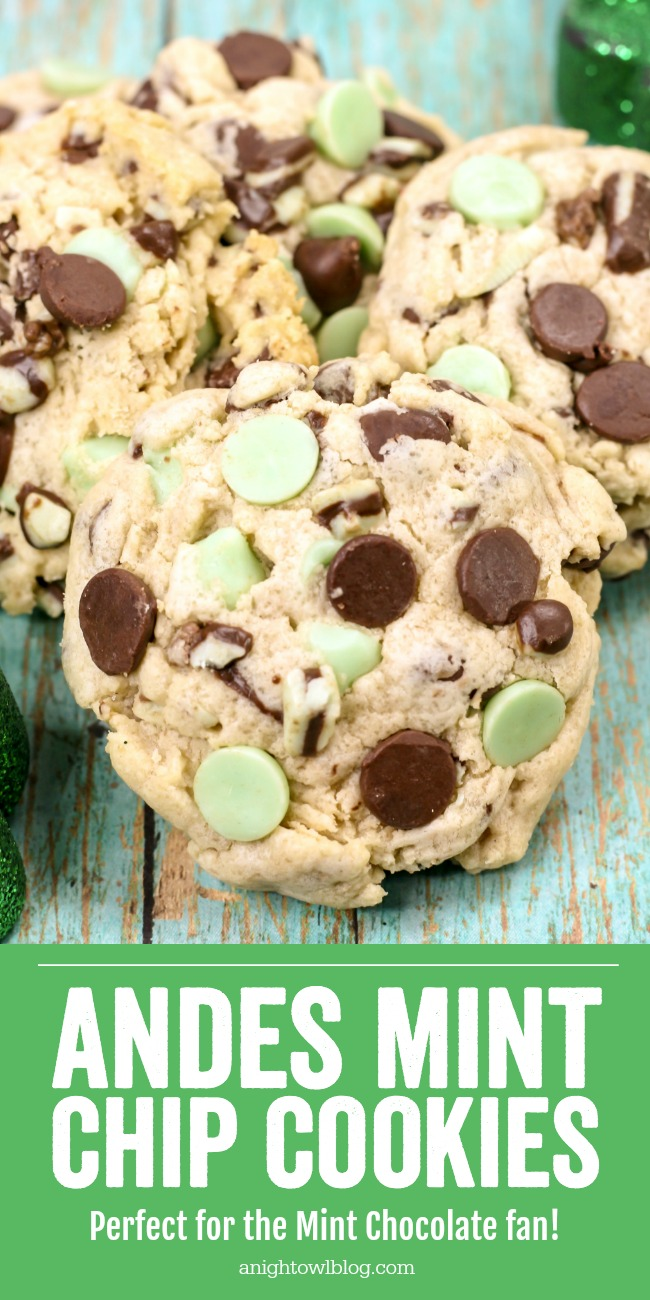 These Andes Mint Chip Cookies stuffed with chocolate chips and Andes Mint Chips are the perfect for the mint lover.
