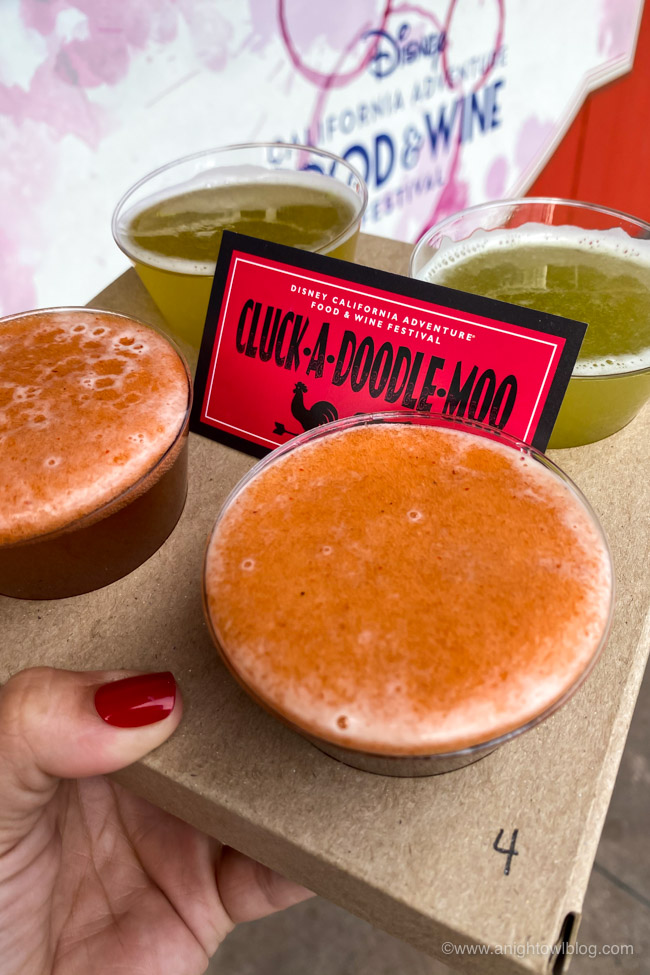 Craft Micheladas, Beers, and Flights from Cluck-A-Doodle-Moo | From Mickey-Shaped Macarons to the Carbonara Garlic Mac & Cheese, there are so many great bites and brews to discover at the Disney California Adventure Food and Wine Festival!